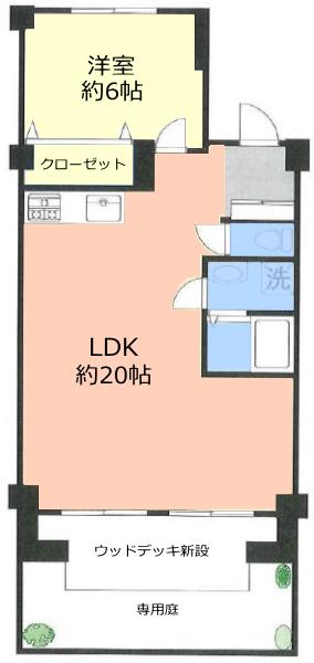 サンシュウ常盤台第3コーポ1階 間取図