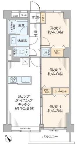 成増アーバンライフ3階 間取図