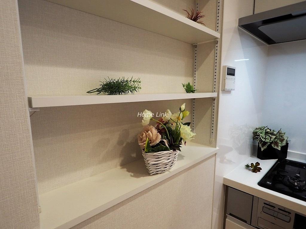 蓮根スカイマンション2階 キッチン壁面可動棚