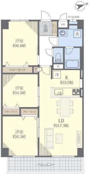 蓮根スカイマンション2階 間取図
