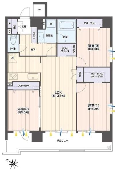 ゼファー大山ファムエール5階 間取図