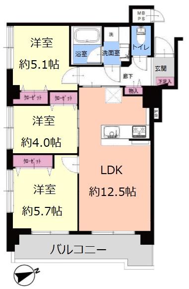 ライオンズマンション北池袋10階 間取図