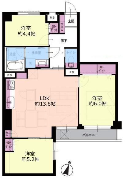 成増ガーデンハイツ3階 間取図