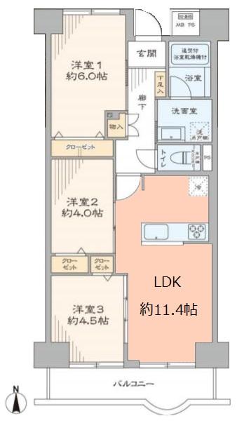 レジデンス大山5階 間取図