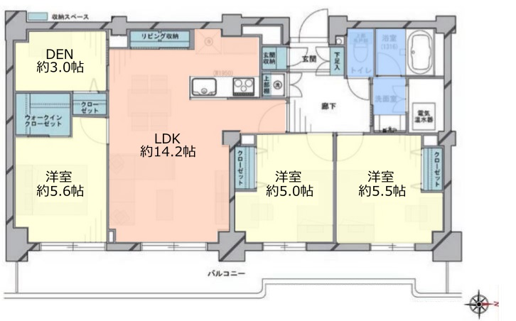 サンシティD棟13階 間取図
