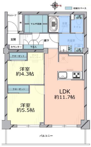 サンシティE棟6階 間取図