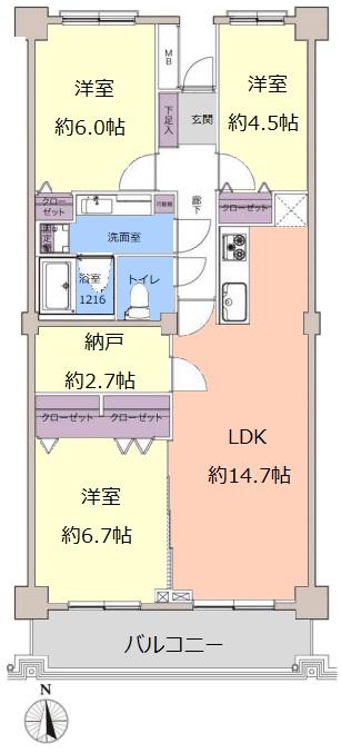 サンシティI棟3階 間取図