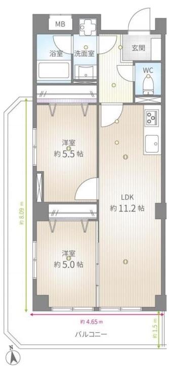 ライオンズマンション中板橋2階 間取図