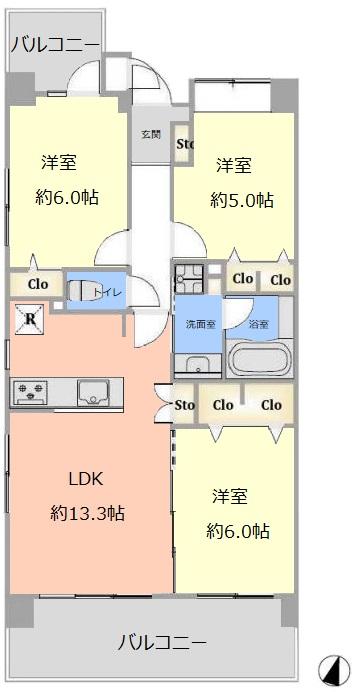 レクシオ志村坂上3階 間取図