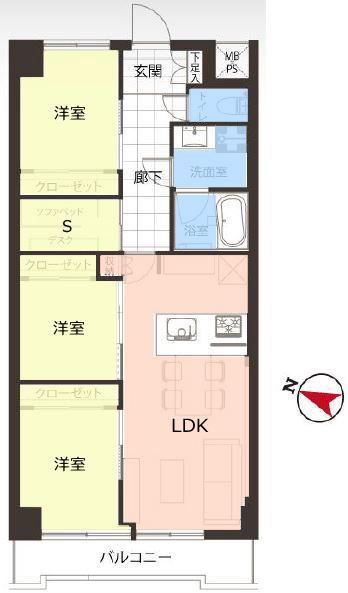 三田上板橋ガーデン1階 間取図