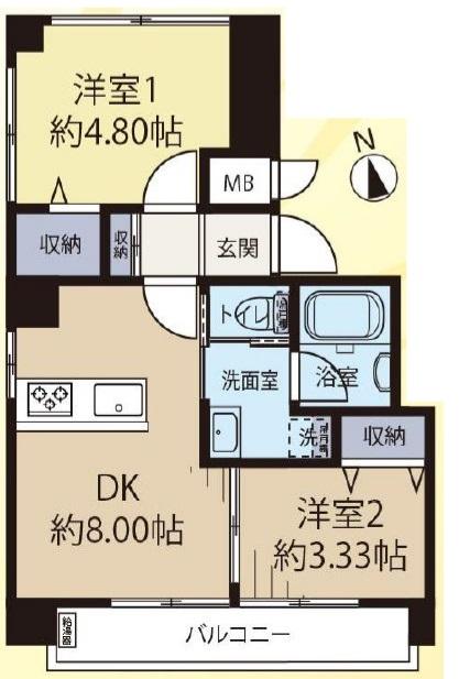 桜川三浦マンション4階 間取図