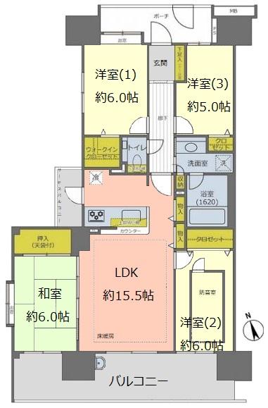 コスモ東京ガーデンパークス6階 間取図