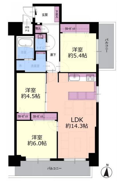 中板橋セントラルマンション8階 間取図