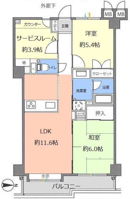 東建ニューハイツ赤塚公園3階 間取図
