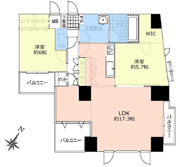 デュオスカーラ常盤台2階 間取図