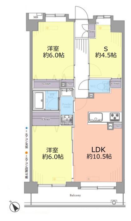 キャニオングランデ中台3階 間取図