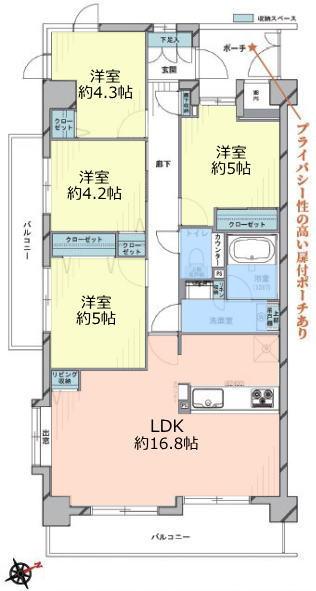 シャルマンコーポ板橋徳丸7階 間取図