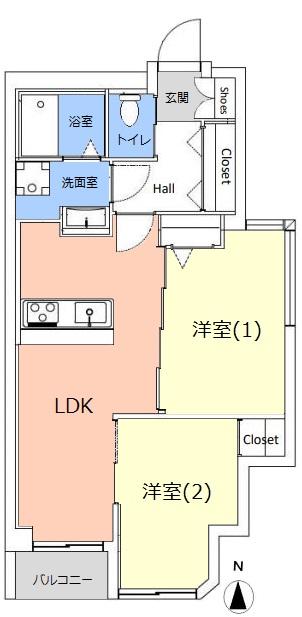 大山サンハイツ7階 間取図
