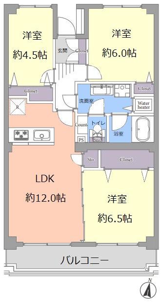 小豆沢パークファミリア B棟8階 間取図