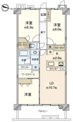 ライオンズガーデン戸田公園4階 間取図